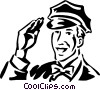 vintage service station employee Vector Clipart illustration