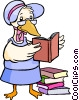 Mother goose reading books Vector Clipart illustration