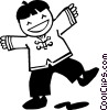 Asian boy dancing Vector Clipart picture