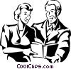 man and woman reading a book Vector Clipart illustration