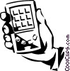 Vector Clip Art image  of a hand held computer day timer