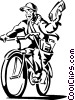 boy delivering a newspaper on his bike Vector Clipart illustration