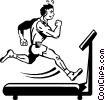Vector Clipart graphic  of a person running on a treadmill
