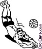 Vector Clip Art image  of a Volleyball player digging for