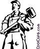 construction man standing with a sledgehammer Vector Clipart graphic