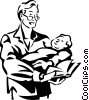 Vector Clip Art graphic  of a man holding a baby