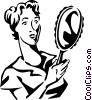 Vector Clipart picture  of a woman looking in a mirror