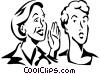 woman whispering into another woman's ear Vector Clip Art picture