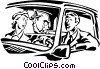 Vector Clip Art image  of a family going for a drive