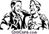 Vector Clip Art graphic  of a men laughing while smoking a