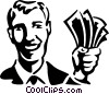 Vector Clipart image  of a man with a hand full of money
