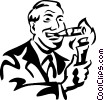 man lighting a cigar with money Vector Clip Art picture