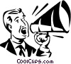 Vector Clip Art graphic  of a man talking into a megaphone