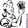 Vector Clipart image  of a woman with a handful of money