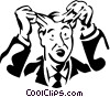 frustrated man pulling out his hair Vector Clip Art graphic