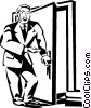 Vector Clipart image  of a businessman opening a door