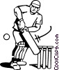 Vector Clipart illustration  of a cricket player