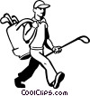 Vector Clip Art graphic  of a golfer with his clubs