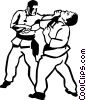 Martial artists sparring Vector Clipart picture