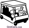 Vector Clipart graphic  of a golfer driving an electric