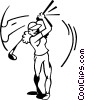 Vector Clipart graphic  of a woman golfer swing a club