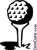 Vector Clip Art image  of a golf ball on a tee