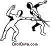 Vector Clip Art graphic  of a Foilsmen fencing