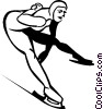 Vector Clip Art picture  of a speed skater