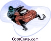 Snowmobiling Vector Clip Art graphic