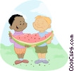 Vector Clip Art graphic  of a Children Eating and Drinking