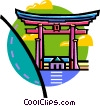 Vector Clipart illustration  of an Asian temples