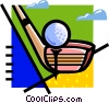 Vector Clip Art image  of a golf club and golf ball