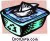 recycle box with water and a paper boat Vector Clip Art picture