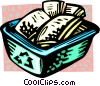 Vector Clip Art graphic  of a recycle box with papers