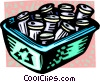 Vector Clipart graphic  of a recycle box full of cans