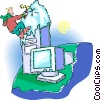 Vector Clipart image  of a climbing to the peak of a computer