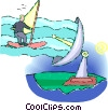 businessman riding a windsurfer Vector Clipart image