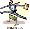 businessman jumping over a hurdle Vector Clipart graphic