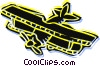 Vector Clipart illustration  of a biplane