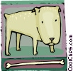 Vector Clip Art picture  of a dog with a bone