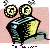 Vector Clip Art image  of a toaster with coins