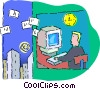 businessman working at his computer Vector Clip Art graphic