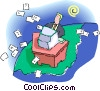 man doing paperwork at his computer Vector Clipart illustration