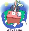 windup businessman working at his desk Vector Clip Art graphic