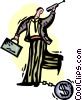 Vector Clip Art graphic  of a man with a financial ball and