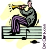 businessman playing the trumpet Vector Clipart illustration