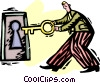 Vector Clip Art graphic  of a businessman locking a door