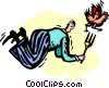 Vector Clip Art graphic  of a man chasing  chicken with a