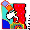 Vector Clip Art graphic  of a watering with a watering can