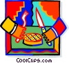 Vector Clipart image  of a person with a knife and fork